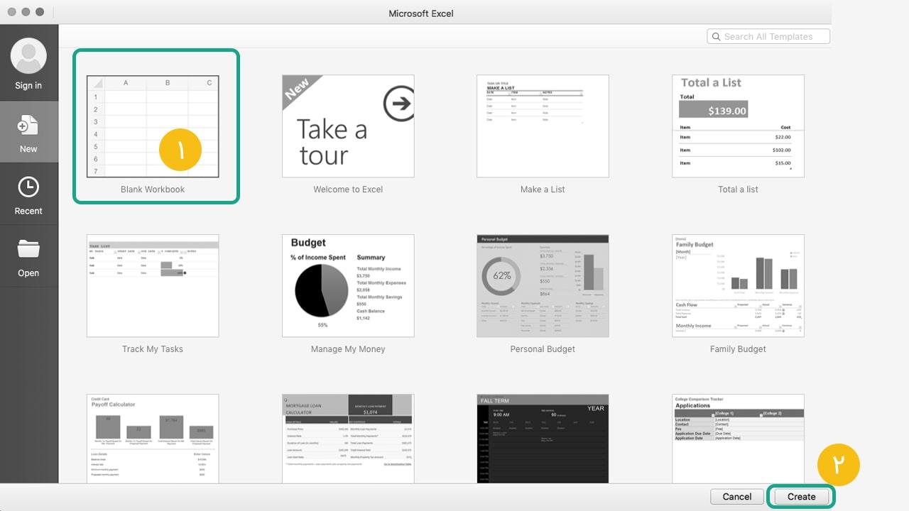 تصویر ۲ - ساخت سند جدید در اکسل